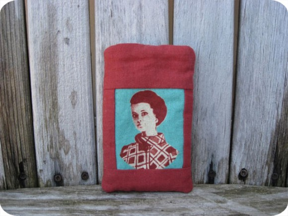 Kathryn Orok, Textiles, cell phone holder, Vintage fabric, Prince Edward County, retro