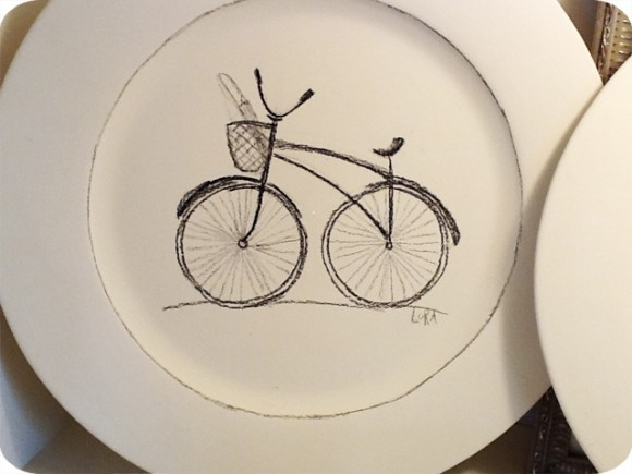 Lora Georgiou, Pottery, Vintage Bike, Drawing, Plate, White