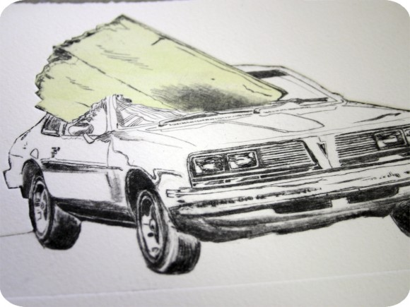 Drypoint, Intaglio, Chine-Colle, Car, Morgan Wedderspoon, Artist in Residence