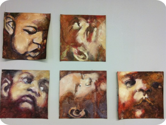 Tess Sarbutt, Residency, Artist in Residence, Painting, Portraits, Waterbased Oils, Purple, Children