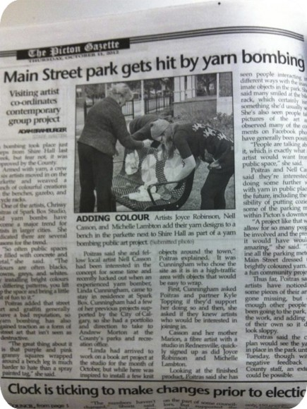Picton Gazette, Yarn Bomb, Community Project, Public Art