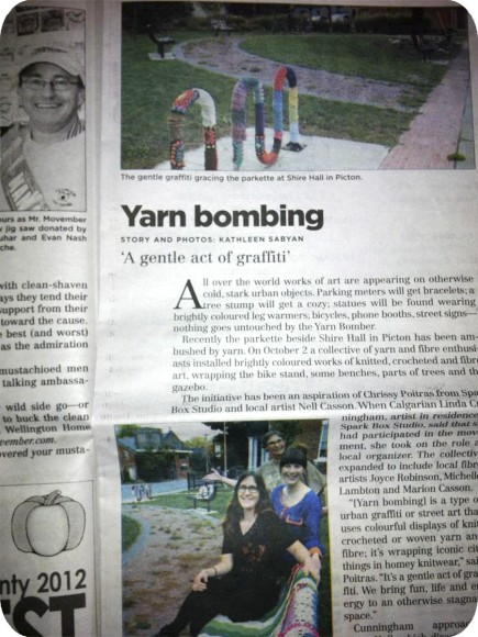 The Times, Newspaper, Article, Yarn Bomb, Spark Box, Public Art, Nell Casson, Linda Cunningham