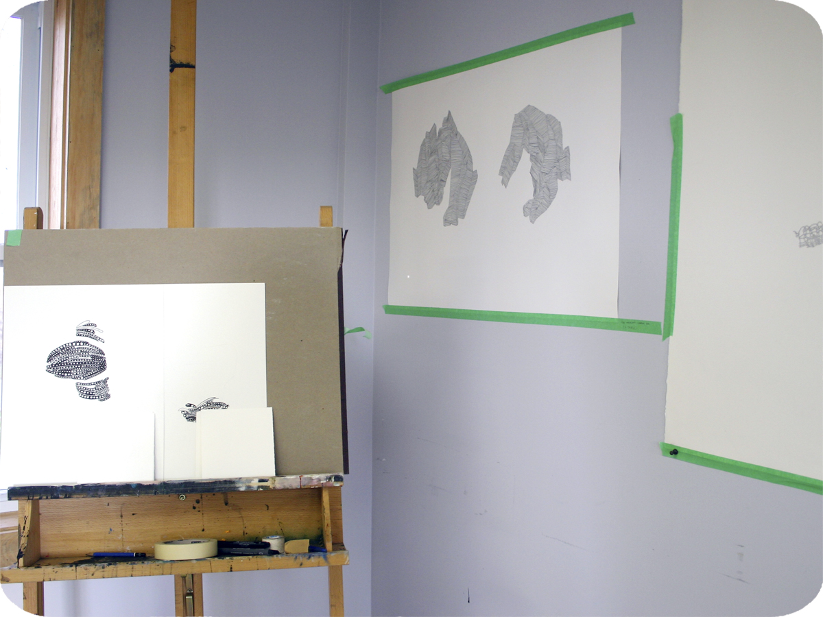 Emma Senft, Studio Space, Artist in Residence, Drawing, Black and White