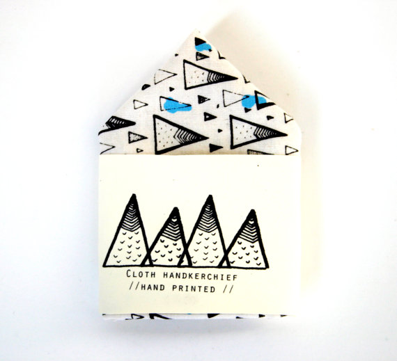 Handkerchief, Silkscreen, Mountain Patter, Handmade, Print, Spark Box