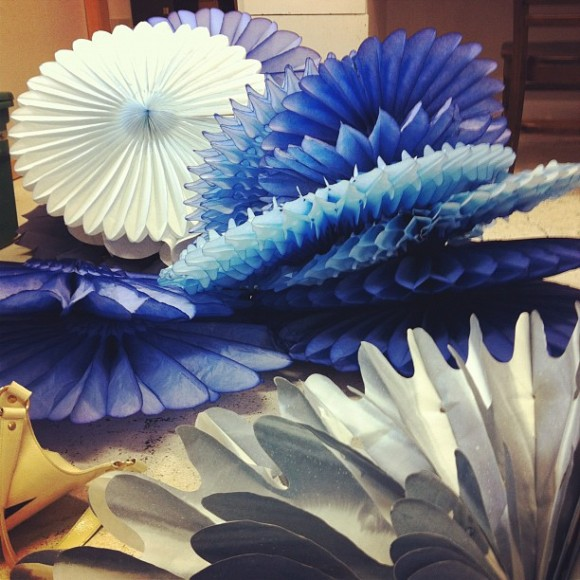 Launa Bacon, Installation, Sculpture, Artist in Residence, Blue, Paper Decorations
