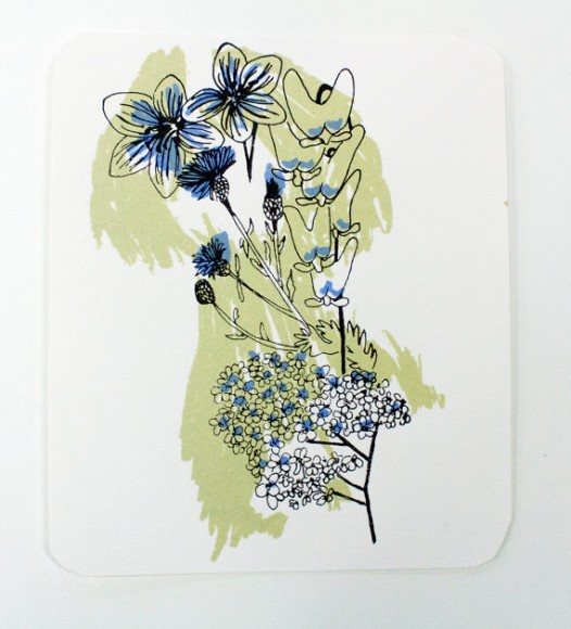 Postcard, Silkscreen, Wildflowers, New York, Tan, Blue, Spark Box