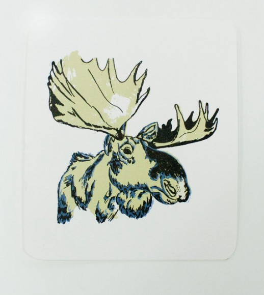 Postcard, Silkscreen, Moose, New York, Spark Box