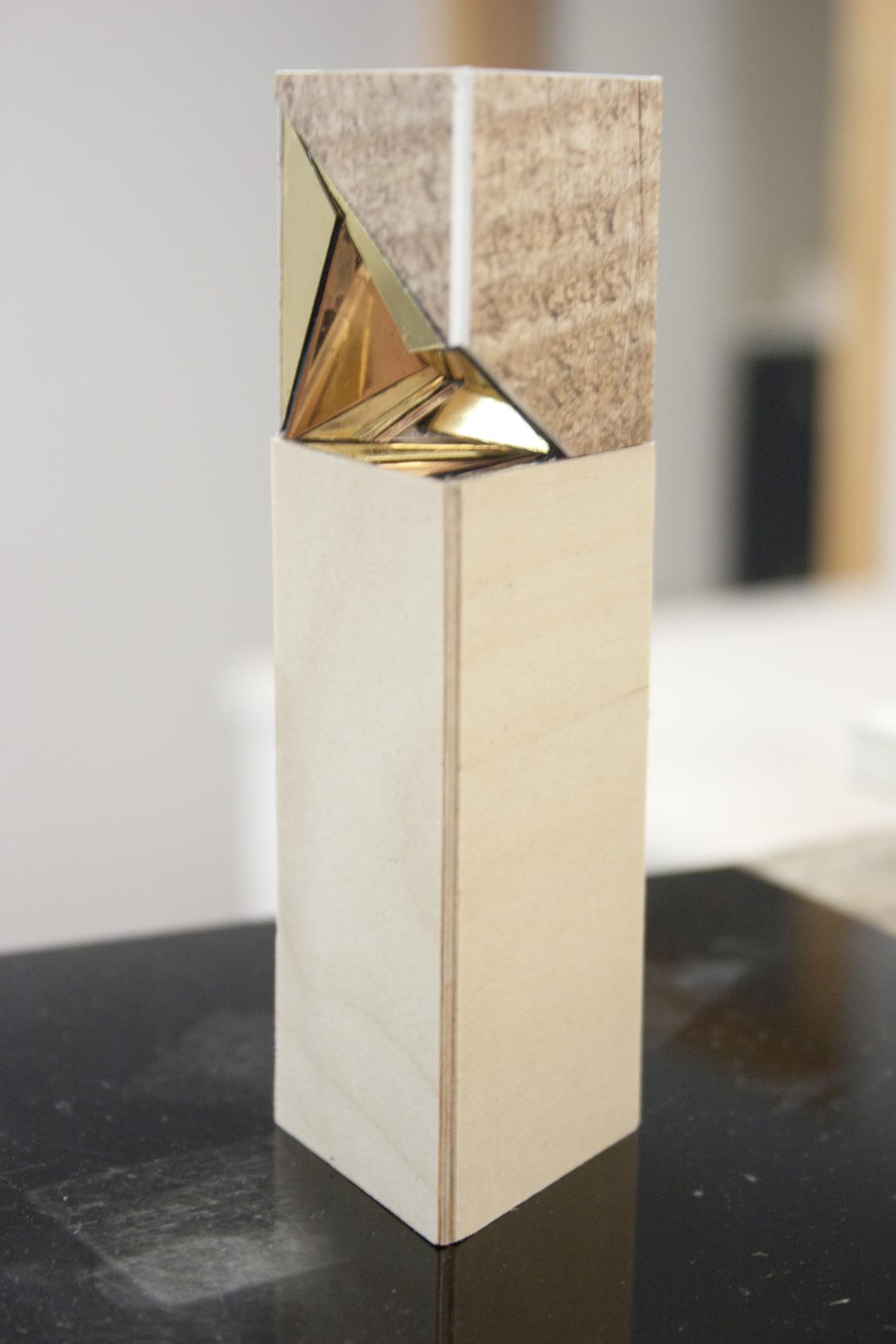 Tyler Vipond, Sculpture, Wood, Gold, Geometric, Toronto, Artist in Residents
