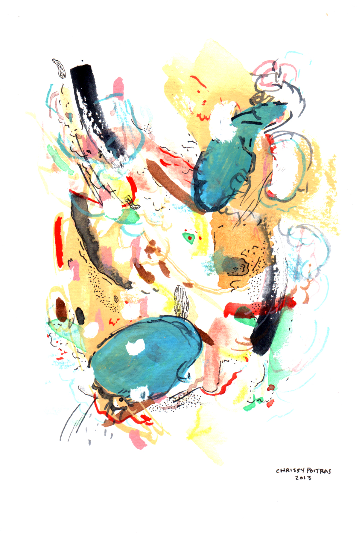 Chrissy Poitras, Painting, Abstract, Watercolour, Small Work,