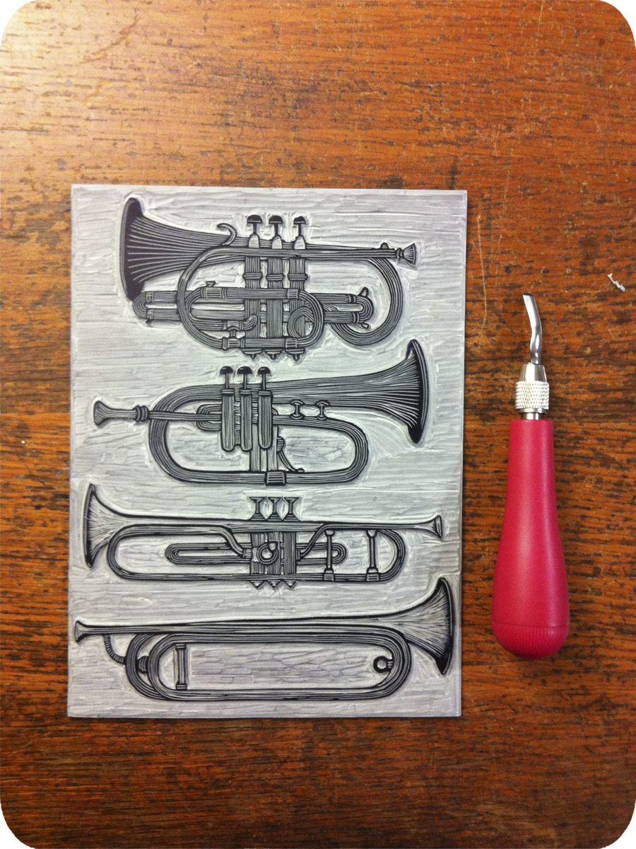 Indiegogo, Letterpress, Relief Print, Linocut, Perk, Thank You, Trumpet, Horns, Printmaking