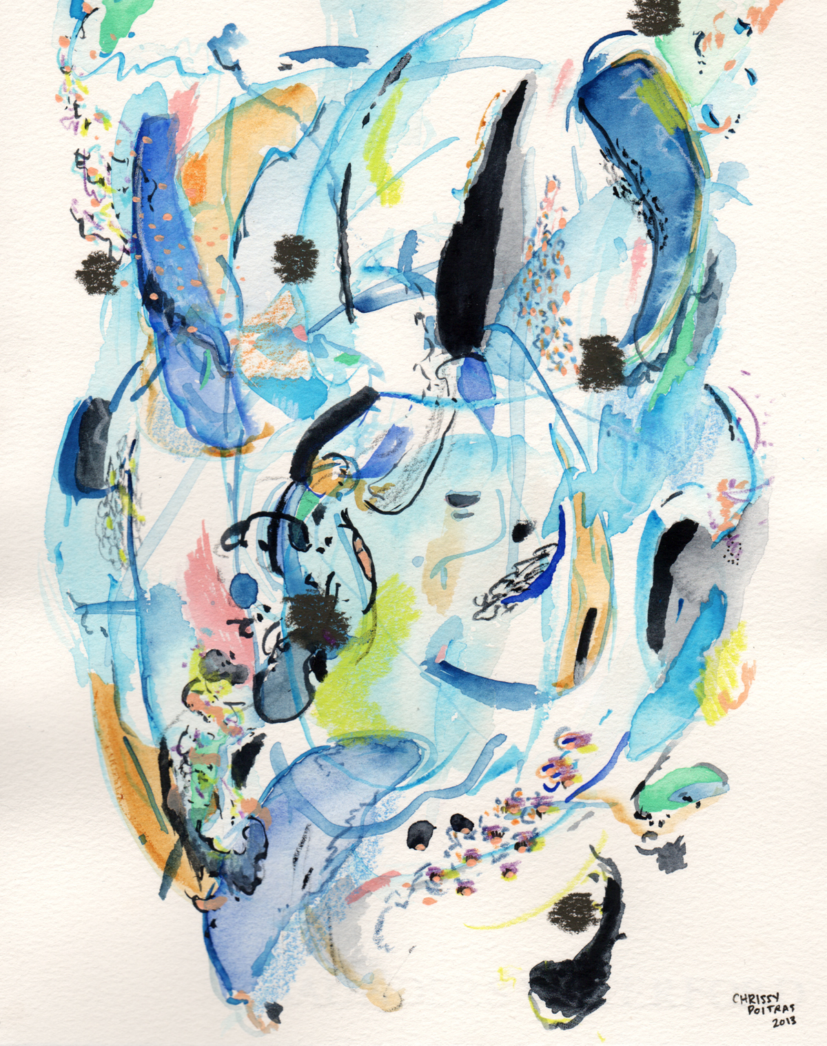 Chrissy Poitras, Painting, Abstract, Watercolour, Small Paper Work, Blue