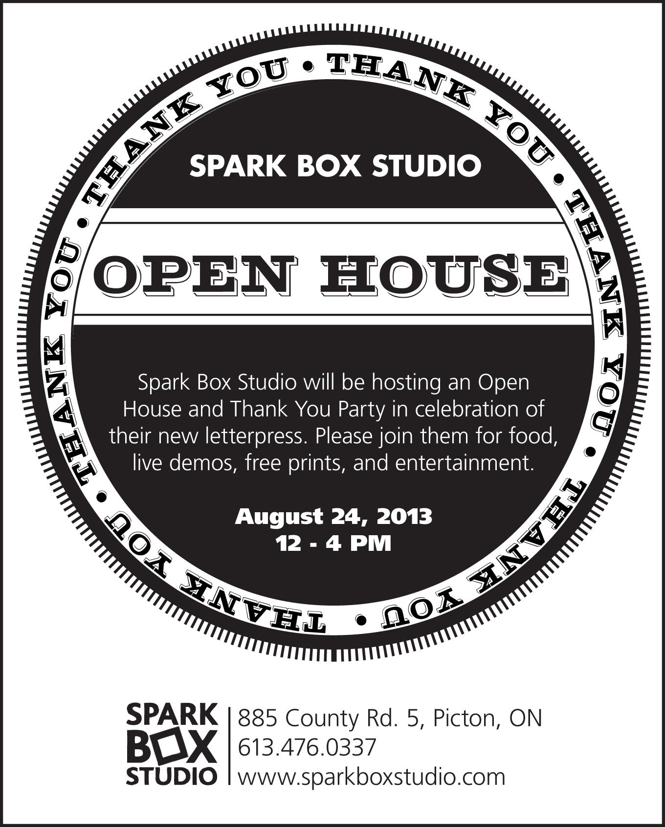 Open House, Letterpress, Party, Print, Thank You