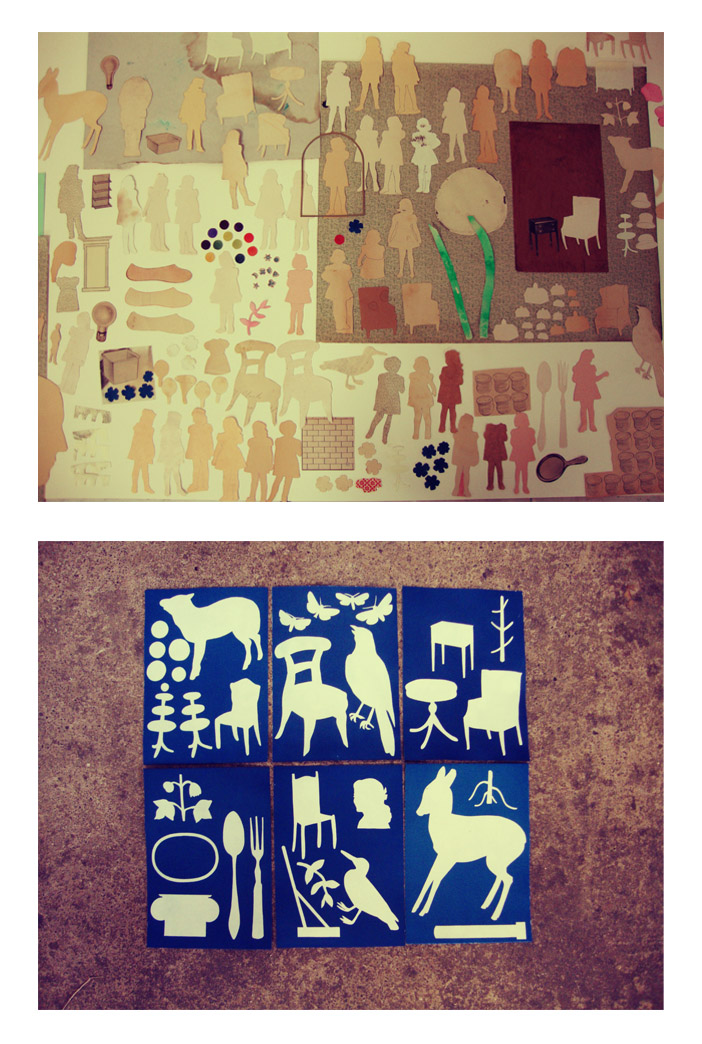 Collage, Vintage, Paper, Cutout, Solar Print, Figure, Household, Animals, Indiego, Artist in Residents, Canada, Ohio Artist