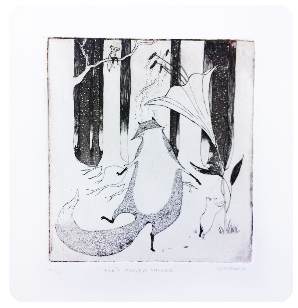 Zosia Gibbs, Etching, Aquatint, Animals, Fox, Artist in Residents
