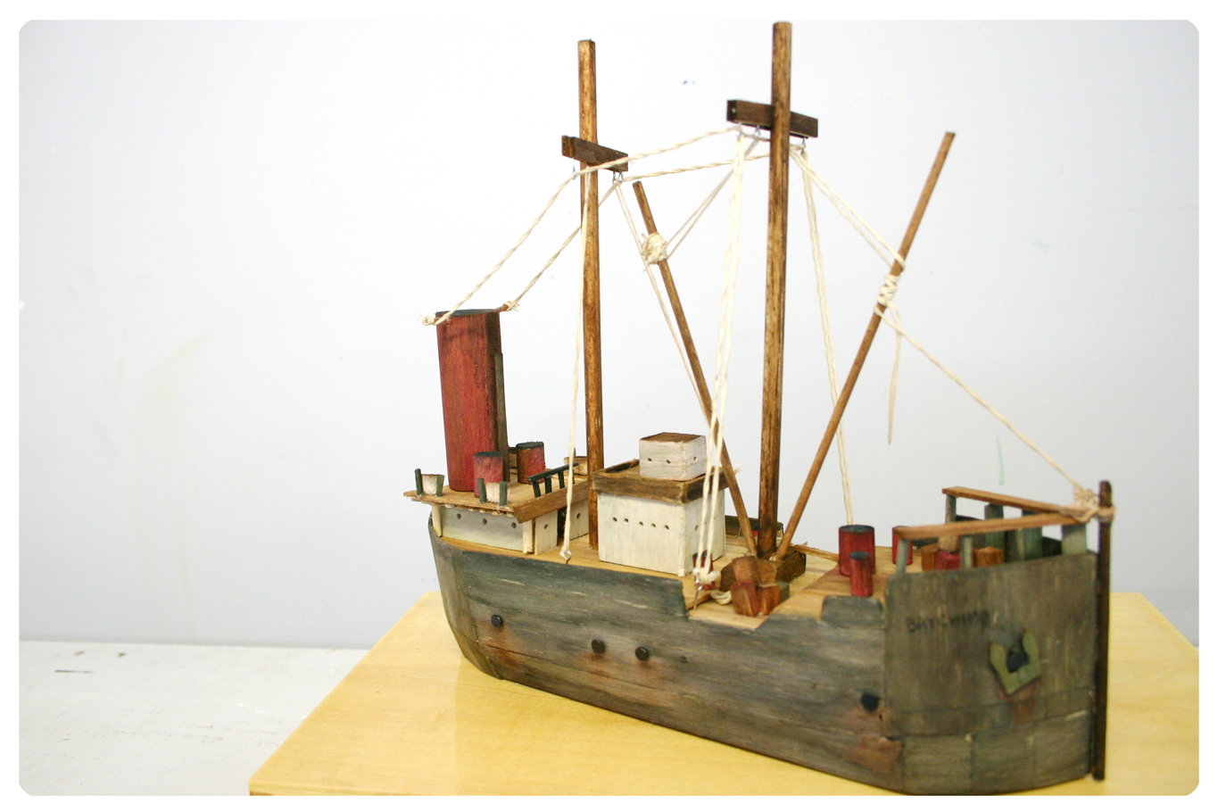 Lucy Satzewich, Model Ship, Ghost Ships, Story Telling, Wood, Sculpture, Artist in Residents, Emerging Canadian Artist